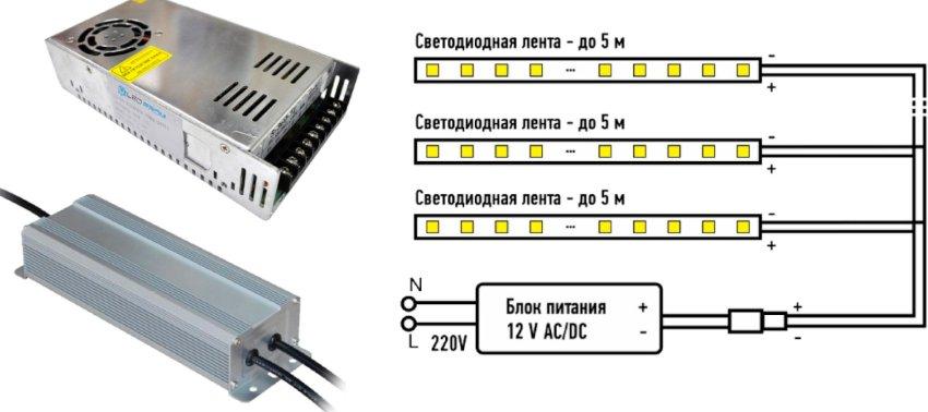 Схема подключения светодиодной ленты с блоком питания
