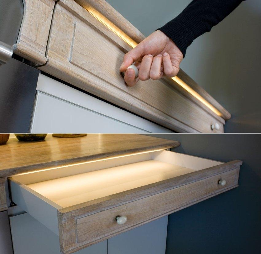 Светодиодную ленту можно установить внутрь неглубоких ящиков и шкафов
