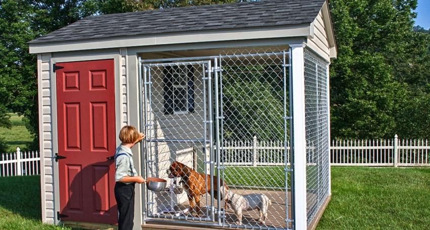 Стационарная конструкция вольера для собак должна иметь прочный фундамент с утепленным полом