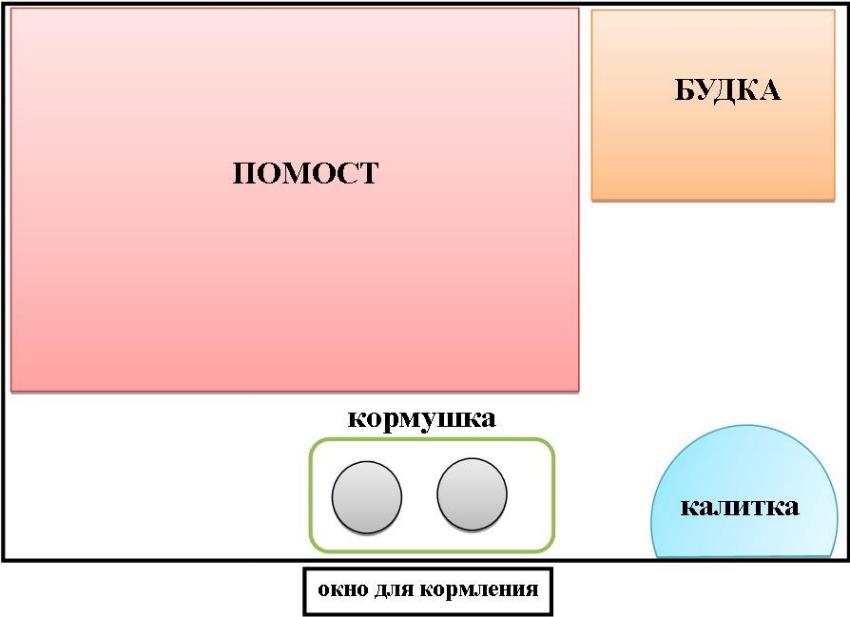 Схема расположения помоста, будки, кормушки и выхода в вольере