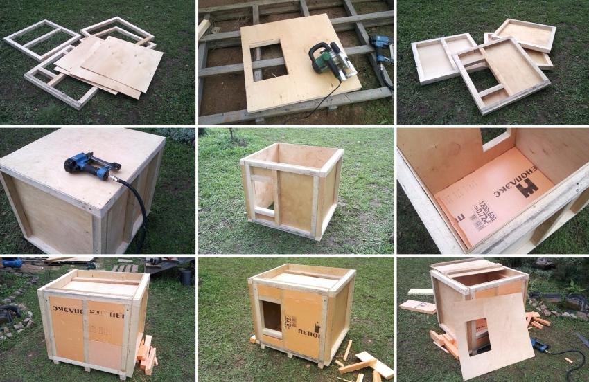Процесс строительства утепленной будки для собаки в вольер