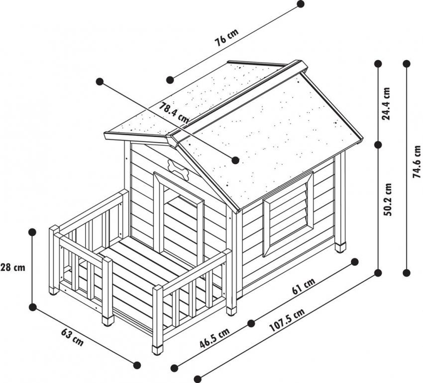 Схема конструкции собачьей будки из дерева
