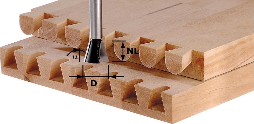 Фреза марки СМТ по дереву цилиндрическая, для нарезки шипов (наиболее известная модификация – «ласточкин хвост»)