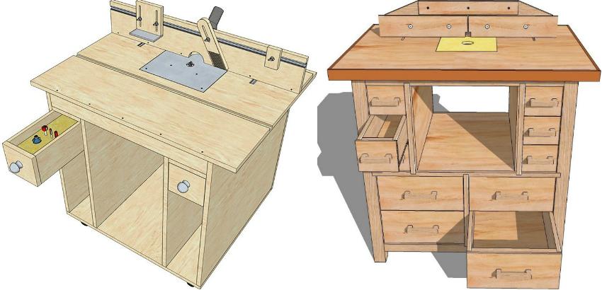 Схема удобного стола для фрезера с ящиками для хранения