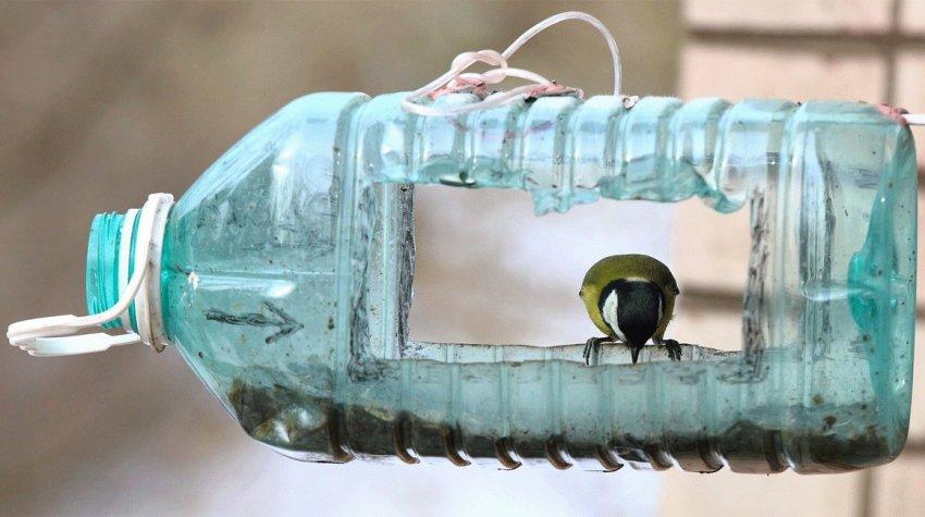 Доступный и простой способ сооружения кормушки - использование пластиковой бутылки