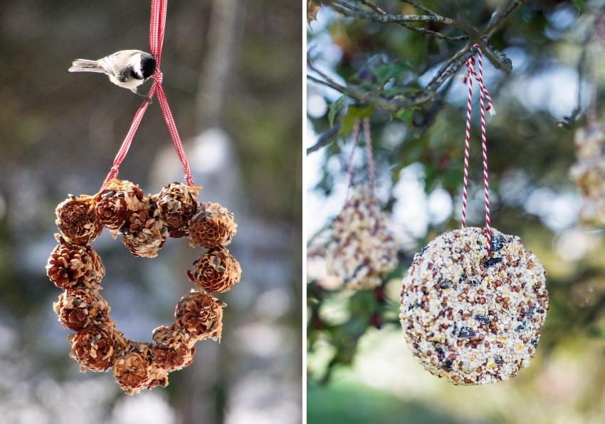 Красивые примеры подвесных кормушек для птиц