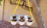 Простая конструкция кормушки для птиц из лотка из-под яиц