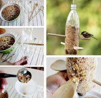 Технология изготовления кормушки из пластиковой бутылки и деревянной ложки