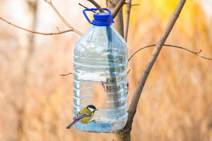 В пластиковой бутылке желательно делать несколько отверстий-дверей для удобства перемещения птиц