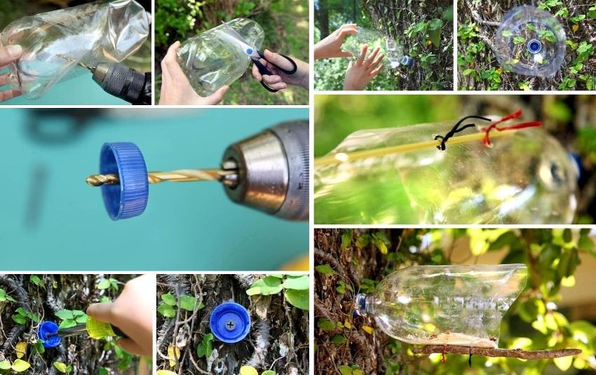 Схема изготовления кормушки из пластиковой бутылки, закрепленной на дереве