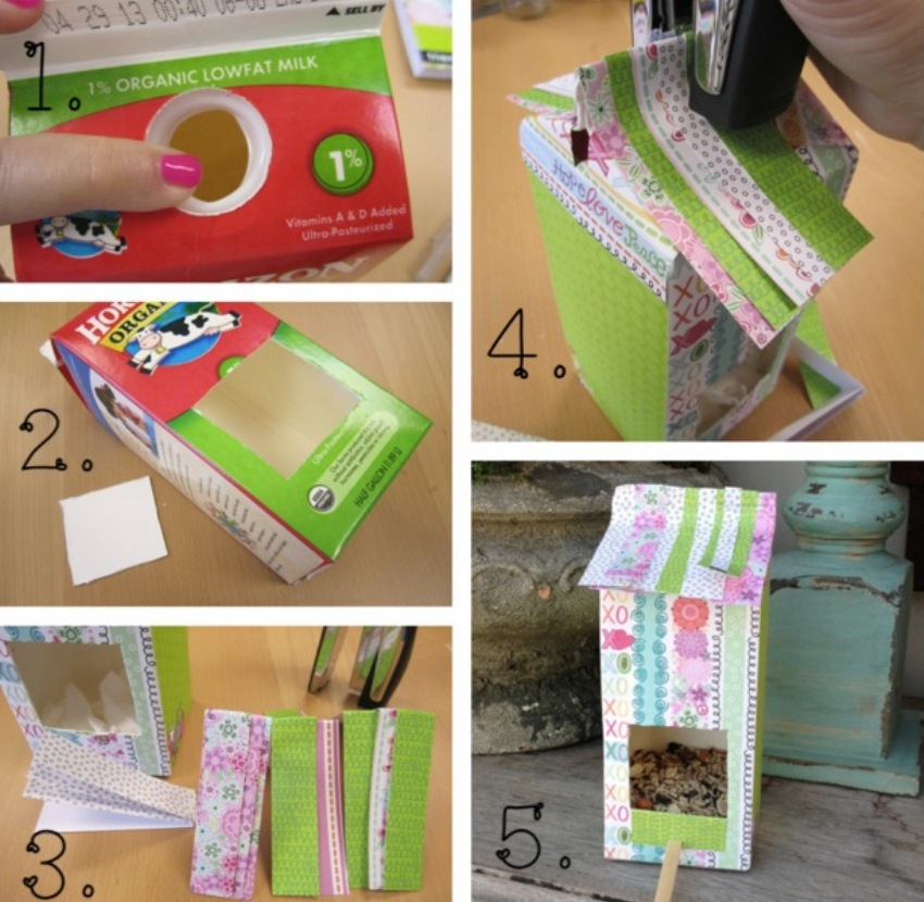Технология создания кормушки-домика из картонного тетрапака
