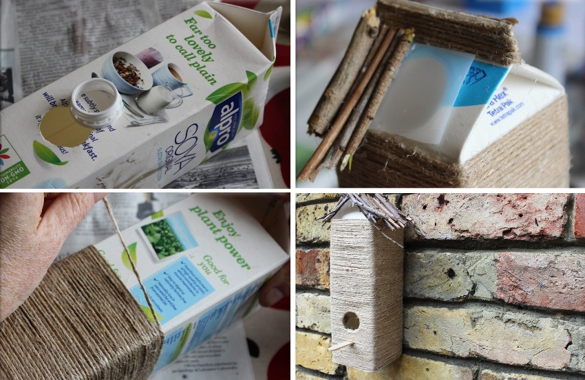 Кормушка для птиц из коробки, веревки и деревянных палочек