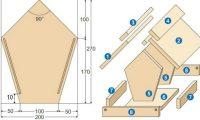 Чертеж деревянной кормушки: 1 и 2 - скаты крыши, 3 и 4 - конек крыши, 5 и 6 - боковые стенки, 7 и 8 - бортики