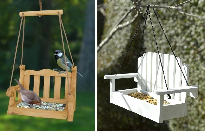 Оригинальные кормушки-качели для птиц