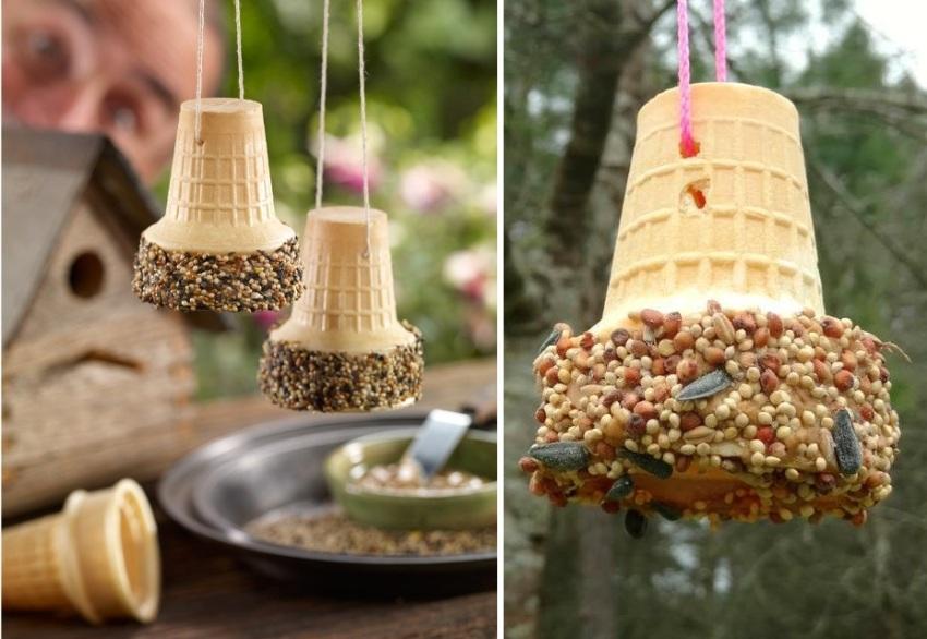Для создания зерновых подвесов использованы вафельные стаканчики