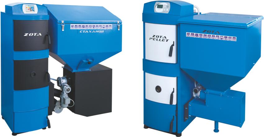 Пеллетные котлы Зота (Zota) оборудованы водяным контуром охлаждения и применяются в строениях, оснащенных отопительной системой с принудительной циркуляцией