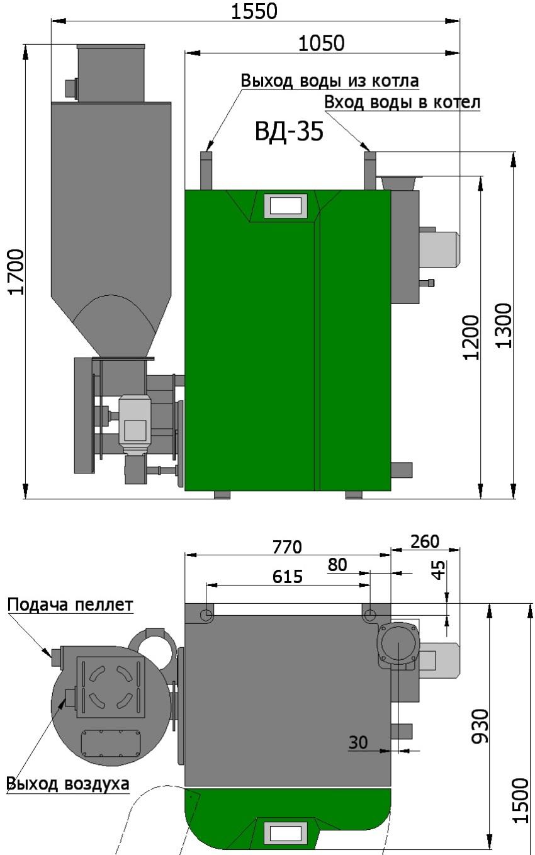 Схема котла Светлобор с системой пневмозагрузки пеллет