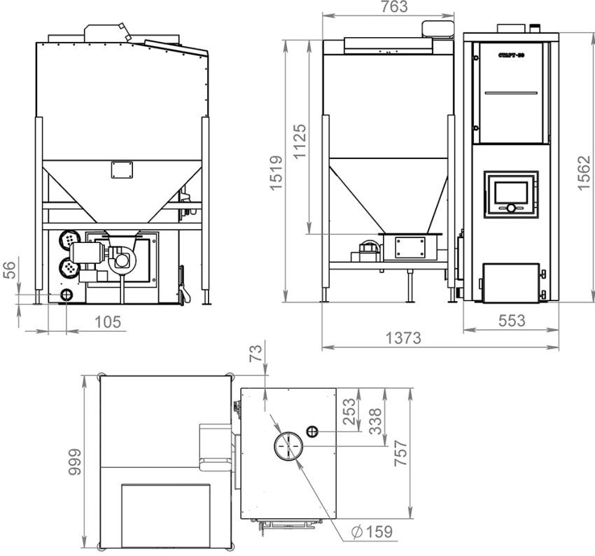 Схема пеллетного котла с бункером