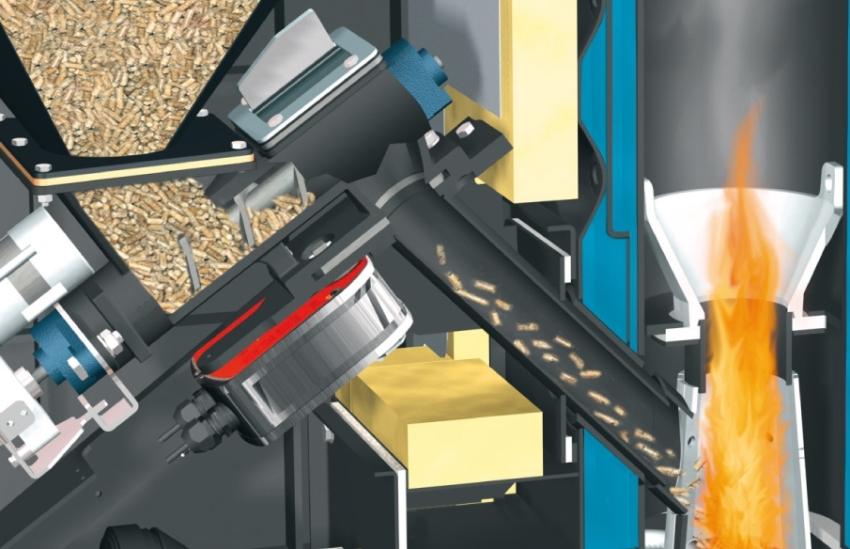 Процесс автоматической подачи пеллет в бункер отопительного агрегата