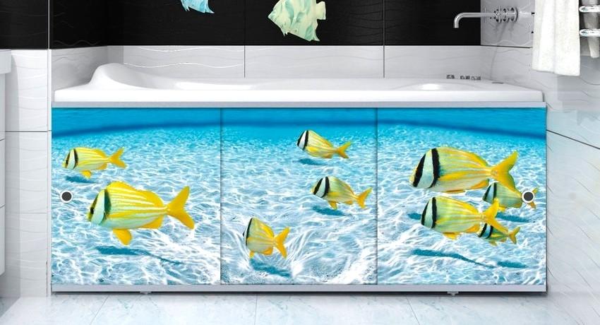 Современные производители предлагают покупателям услугу печати любого изображения на пластиковый экран, что позволит украсить ванную комнату в любом стиле