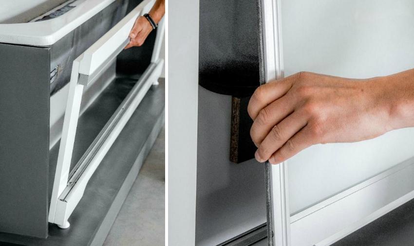 Перед установкой дверей экрана необходимо установить и надежно закрепить каркас конструкции