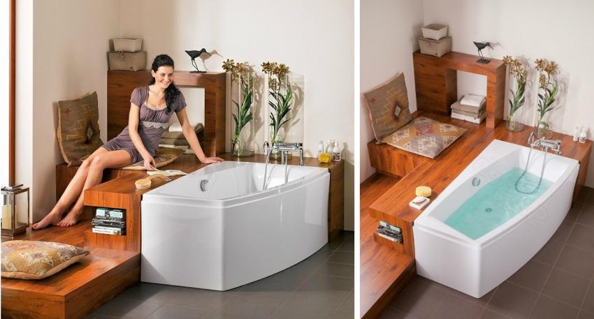 Пример удачной комбинации угловой ванны с мебелью