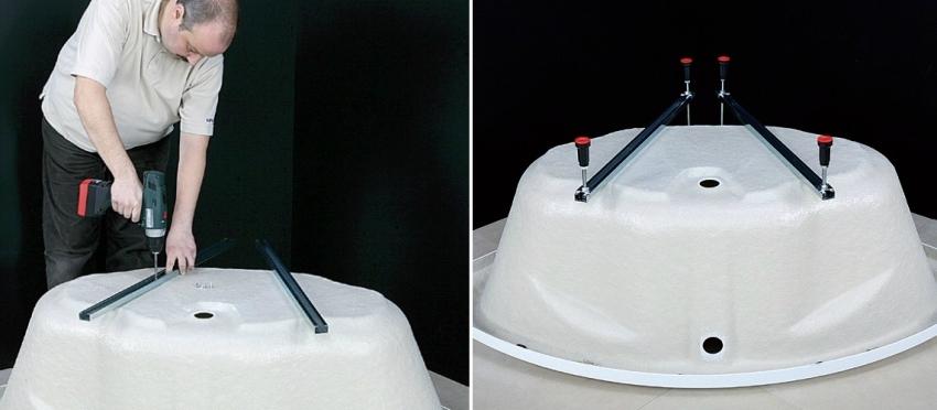 Угловая ванна, как и обычная, устанавливается на специальные опоры, которые могут быть предусмотрены в комплекте