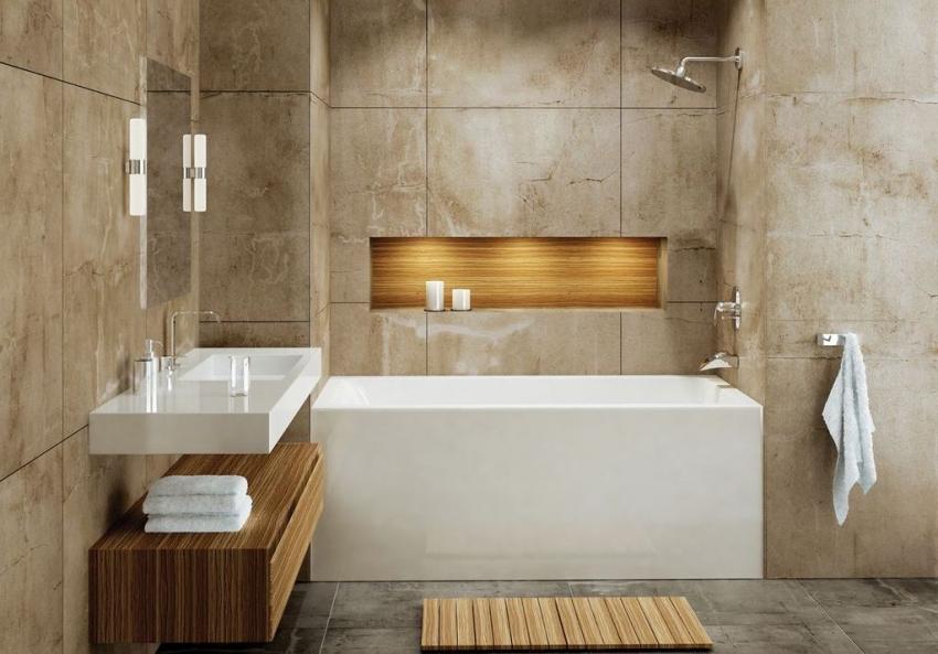Если в ванной комнате присутствует ниша, ее можно использовать для установки прямоугольной ванны стандартного размера