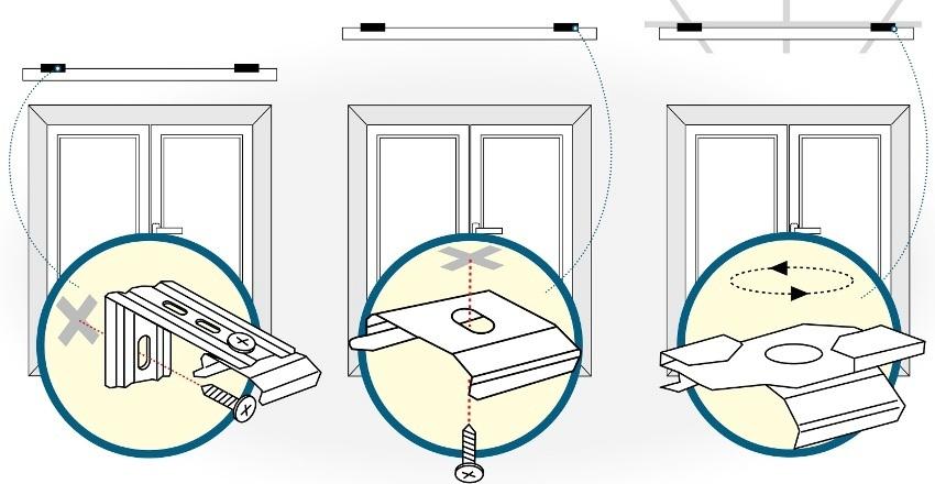 """Варианты крепления вертикальных жалюзи: к стене (к раме окна), к потолку (к проему окна), к потолку """"Армстронг"""""""