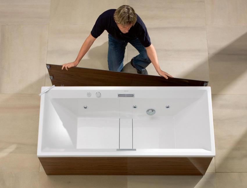 Изготовить своими руками можно экран из МДФ, который будет точно таким же, как и мебель в ванной комнате