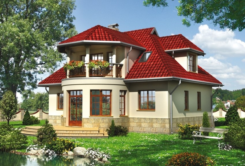 Three Dimensional Design Two Y Country House With A Bay Window