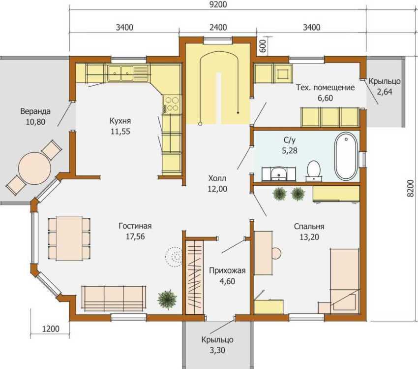 Типичный проект одноэтажного дома с эркером
