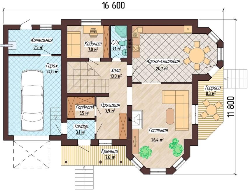 Проект первого этажа двухэтажного дома с эркерными помещениями и гаражом