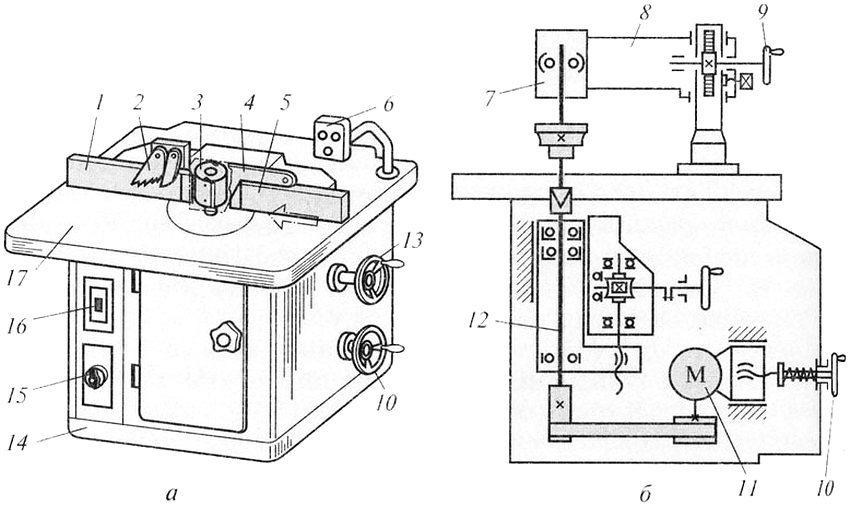 а - общий вид фрезерного станка, б -кинематическая схема. 1 , 5 - направляющие линейки; 2 - зубчатый сектор; 3 - фреза; 4 - ограждение; 6 - пульт управления; 7 - дополнительная опора шпинделя; 8 - кронштейн; 9 - маховичок подъема кронштейна; 10 - маховичок натяжения ремня; 11 - электродвигатель; 12 - шпиндель; 13 - маховичок настройки шпинделя по высоте; 14 - станина; 15 - переключатель частоты вращения шпинделя; 16 - выключатель; 17 - стол