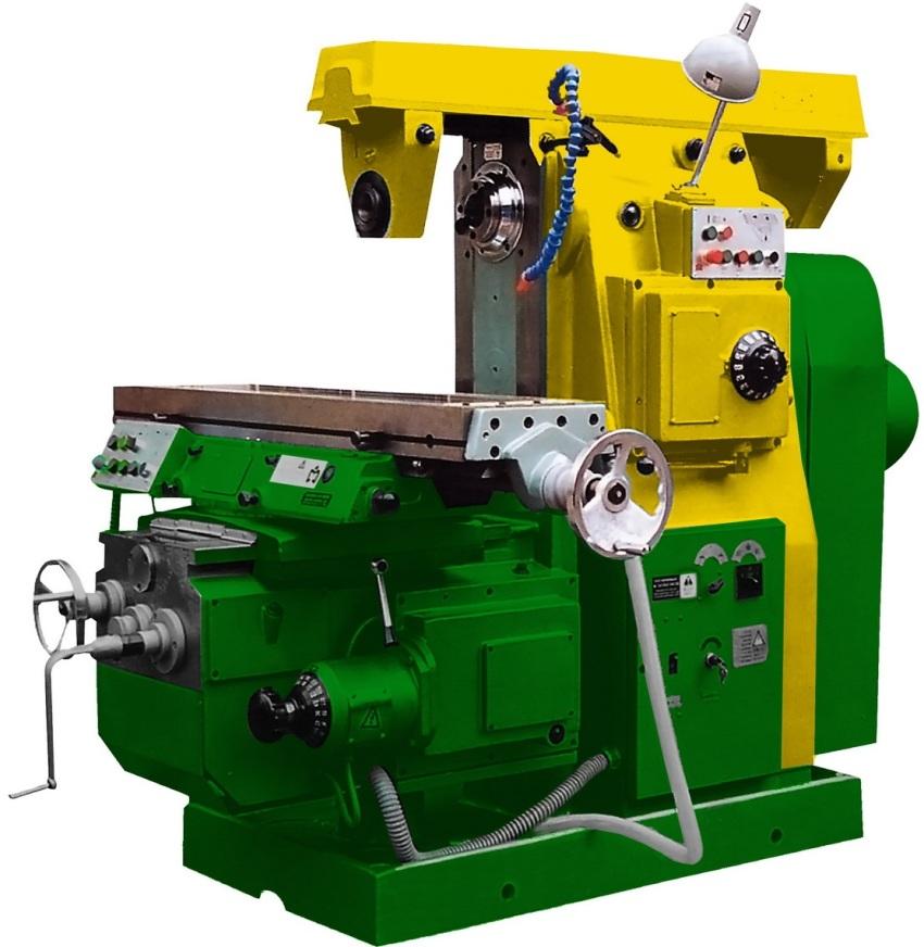 Горизонтальный фрезерный станок представляет собой станину механизма с горизонтальным шпинделем, на котором располагается фреза, коробка передач и стол