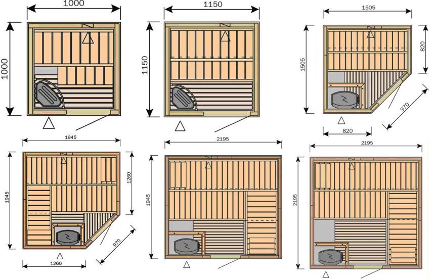 Типичные решения габаритных размеров кабинок для инфракрасных саун