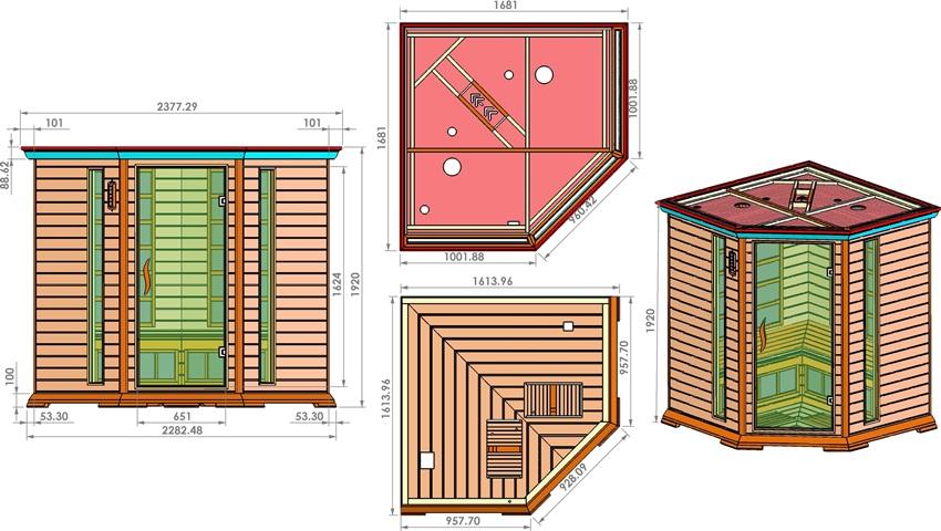 Монтажные размеры для установки угловой кабинки инфракрасной сауны