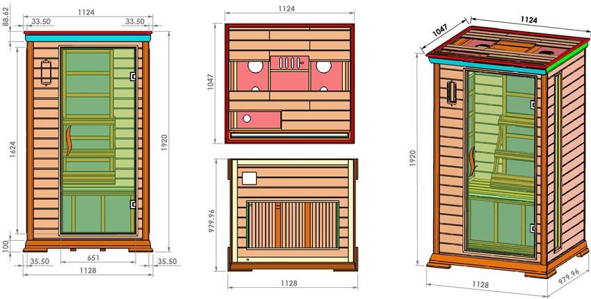 Габаритные размеры одноместной кабинки инфракрасной сауны