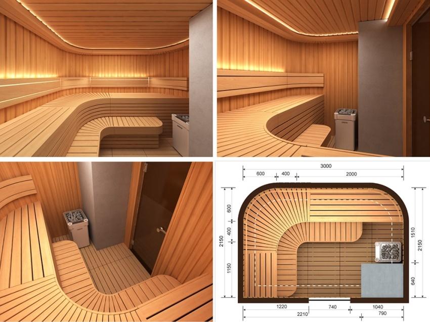 Трехмерный проект сауны комбинированного типа