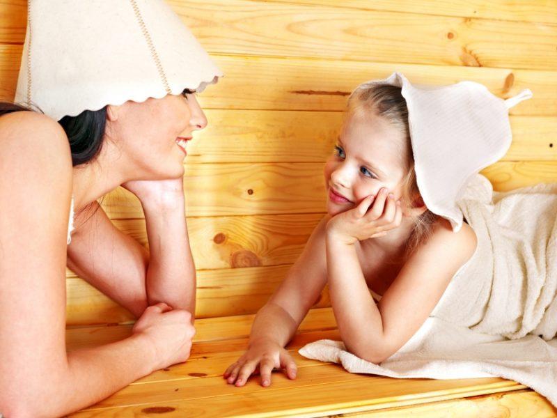 дети в бане