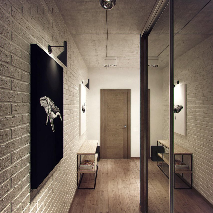 Коридор проблемной узкой планировки не позволит реализовать фантазии и задумки, поэтому на такой площади предпочтительно устанавливать только функциональную мебель
