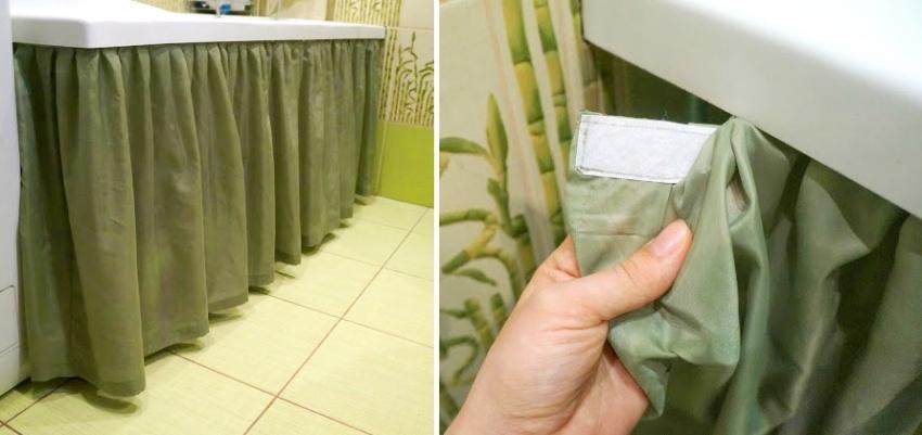 Главным преимуществом шторы под ванну из портьерной ткани является ее простота тзготовления и монтажа
