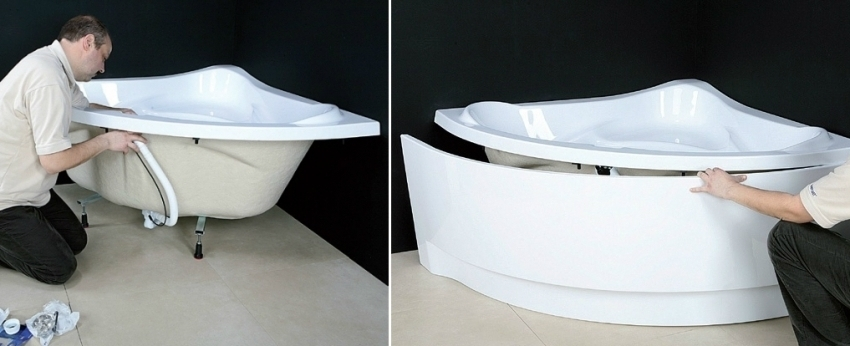 Если экран устанавливается под акриловую ванну, крепеж можно монтировать прямо на ее борта