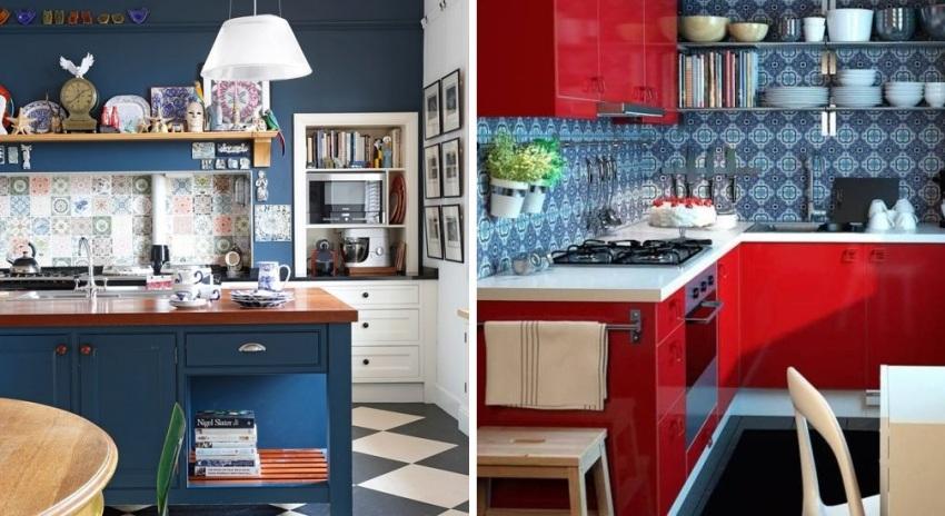 Примеры использования в оформлении кухни ярких оттенков