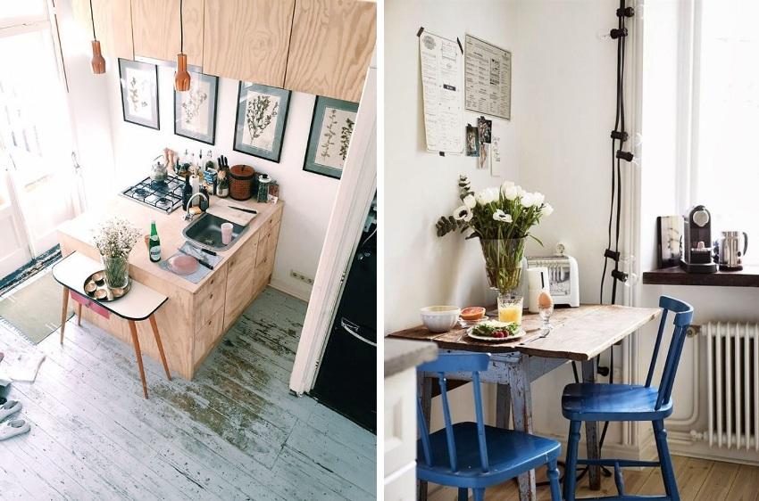 Примеры использования компактной и раскладной мебели на самых маленьких кухнях