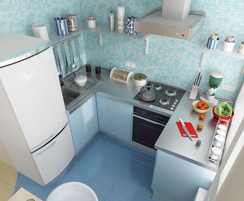 3D-проект ремонта кухни с П-образным размещением мебели