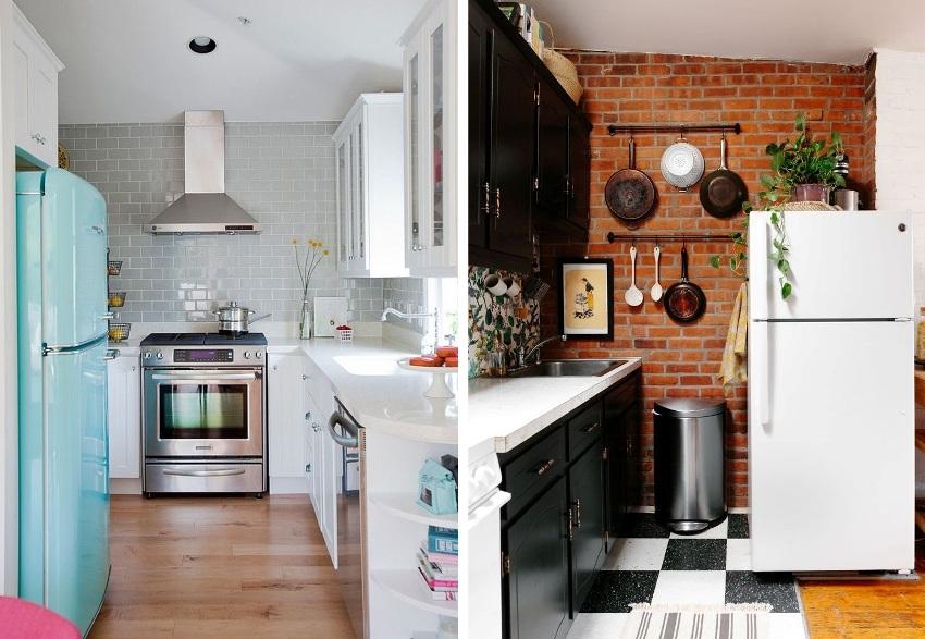 Примеры расположения холодильника на маленькой кухне