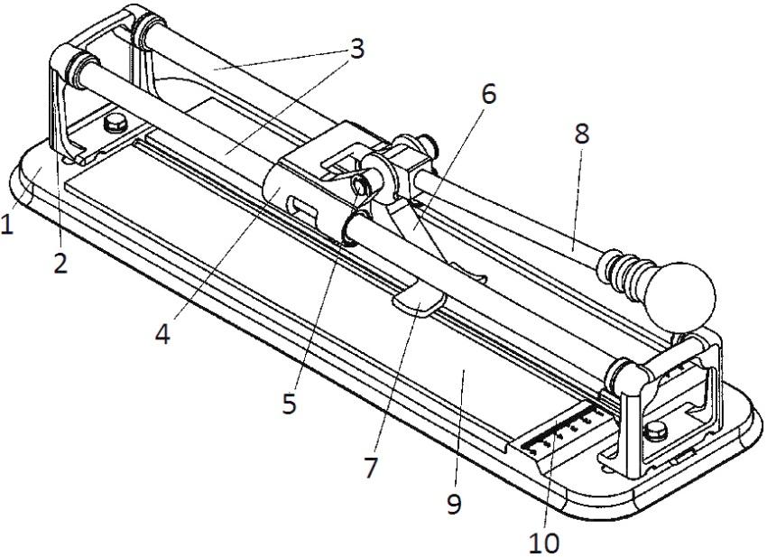 Устройство ручного плиткореза: 1 - основание, 2 - стойки, 3 - направляющие, 4 - каретка, 5 - ось качания, 6 - коромысло, 7 - ломающий узел, 8 - ручка управления, 9 - подложка, 10 - измерительная линейка