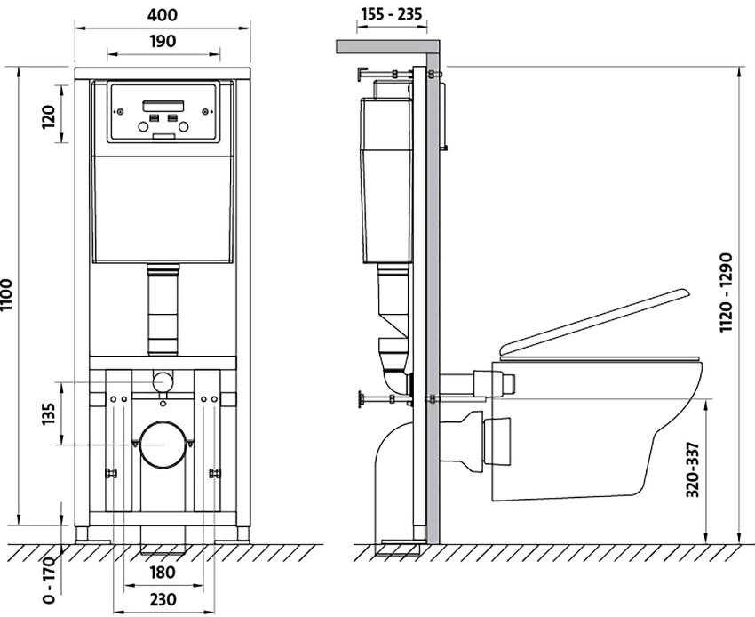 Схема инсталляции для подвесных унитазов