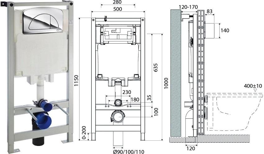 Несмотря на внешнюю изящность инсталляции Ideal Standard, конструкция способна выдерживать большой вес